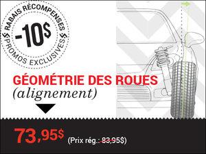 Rabais de 10$ sur la géométrie des 4 roues (alignement) chez Groupe Vincent à Shawinigan et Trois-Rivières