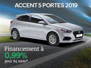 Financement 0,99% 84 mois sur la Hyundai Accent 5 portes 2019 chez Hyundai Trois-Rivières à Trois-Rivières