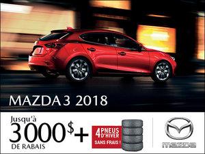 Jusqu'à 3 000$ de rabais sur les Mazda3 2018 + pneus d'hiver SANS FRAIS! chez Prestige Mazda à Shawinigan