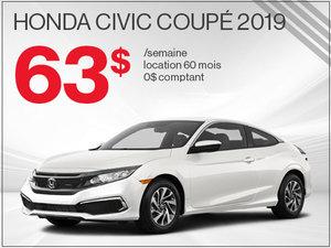 La Honda Civic Coupé 2019 pour 63$ par semaine chez Avantage Honda à Shawinigan