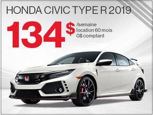 La Honda Civic TYPE R 2019 pour 134$ par semaine chez Avantage Honda à Shawinigan