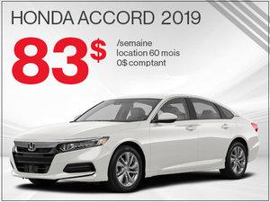 83$ par semaine pour la Honda Accord 2019 chez Avantage Honda à Shawinigan