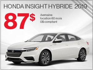 87$ par semaine pour la Honda Insight Hybride 2019 chez Avantage Honda à Shawinigan