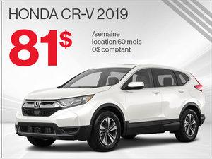 Découvrez le Honda CR-V 2019 pour 81$ par semaine chez Avantage Honda à Shawinigan