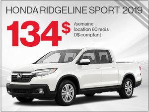 Le nouveau Honda Ridgeline Sport 2019 à 134$ par semaine chez Avantage Honda à Shawinigan