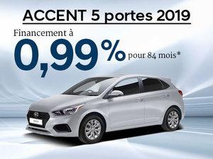 Financement 0,99% sur 84 mois sur la Hyundai Accent 5 portes 2019 chez Hyundai Trois-Rivières à Trois-Rivières