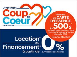 Location ou financement à partir de 0% + carte d'essence de 500$! chez Hyundai Trois-Rivières à Trois-Rivières