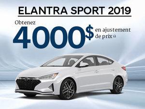 Jusqu'à 4 000$ en ajustement de prix sur les Elantra Sport 2019! chez Hyundai Trois-Rivières à Trois-Rivières