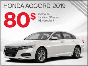80$ par semaine pour la Honda Accord 2019 chez Avantage Honda à Shawinigan