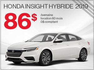 86$ par semaine pour la Honda Insight Hybride 2019 chez Avantage Honda à Shawinigan