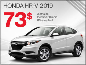 73$ par semaine pour rouler en Honda HR-V 2019 chez Avantage Honda à Shawinigan