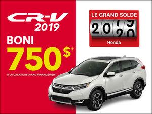 Jusqu'à 750$ de BONI sur les CR-V et Civic 2019 chez Avantage Honda à Shawinigan