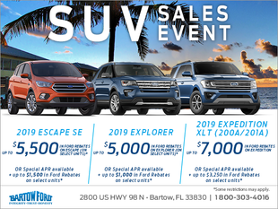 Get a brand new 2019 Ford SUV today!