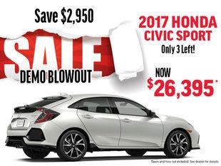 DEMO BLOWOUT 2017 Honda Civic Sport