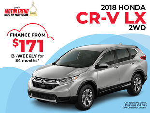 $171 Bi-Weekly Finance on the 2018 CR-V LX 2WD