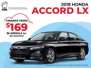 $169 Bi-Weekly Finance on the 2018 Honda Accord LX
