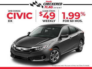 Lease the 2018 Honda Civic DX for just $49 Weekly!
