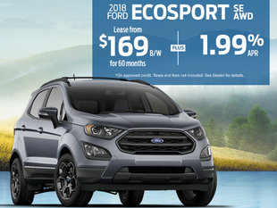 Lease the 2018 Ford EcoSport SE for $169 Bi-Weekly