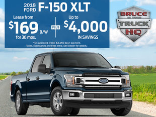 Lease the 2018 F-150 XLT for $169 Bi-Weekly over 36 Months