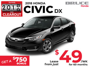 Lease the 2018 Honda Civic DX for $49 Weekly