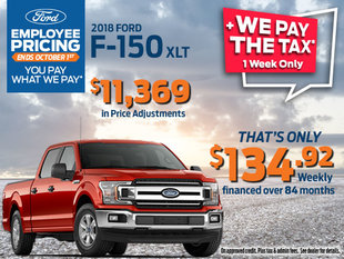 Employee Pricing + We Pay the Tax on 2018 Ford F-150 XLT