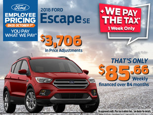 Employee Pricing + We Pay the Tax on 2018 Ford Escape SE