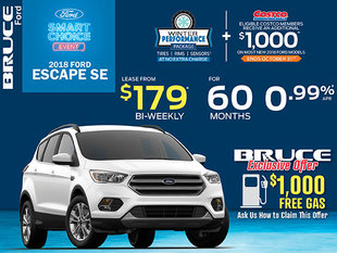Lease the 2018 Ford Escape SE for Just $179 Bi-Weekly