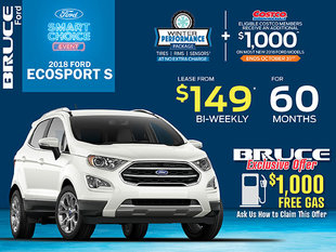 Lease the Ford EcoSport S for Just $149 Bi-Weekly