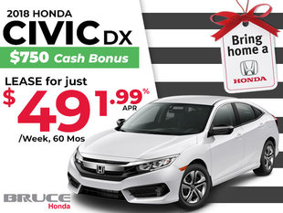 Lease the 2018 Honda Civic DX JUST $49 Weekly