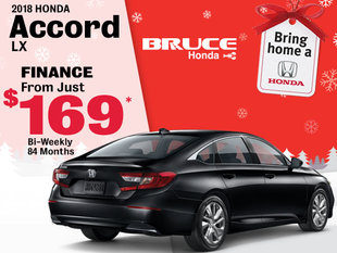 Finance the 2018 Honda Accord LX for Just $169 Bi-Weekly