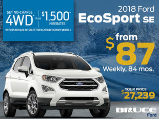 No Charge 4WD on the 2018 EcoSport- from $87 Weekly!