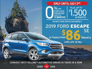 Canada Day Deals on 2019 Ford Escape