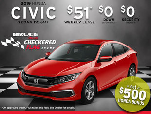 2019 Honda Civic from Only $51 Week + Get a $500 Honda Bonus