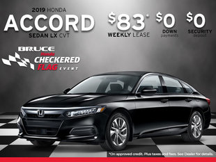Just $83 Weekly for 2019 Honda Accord LX