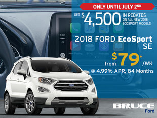 $4,500 Rebate on ALL 2018 Ford EcoSports