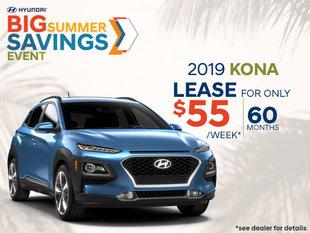 Leasee the 2019 Hyundai Kona