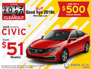 2019 Civic from $51 Weekly (While They Last!)