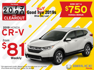 2019 CR-V from $81 Weekly + $750 Bonus (While they Last!)