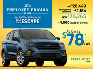 Get your 2019 Ford Escape from $78/Wk During Employee Pricing