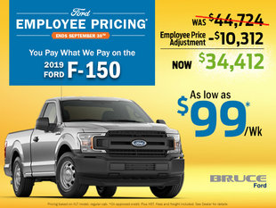 Pay What We Pay on the 2019 Ford F-150 until September 30