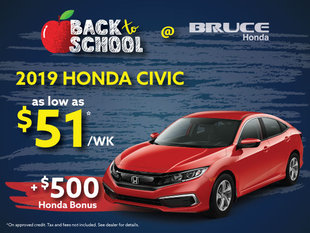Back-to-School Special - $500 Bonus on all 2019 Honda Civics!