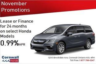 Lease or Finance Select Honda Models 0.99% apr