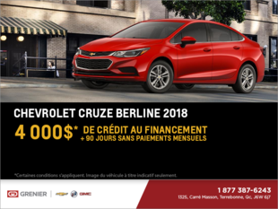 Obtenez le Chevrolet Cruze Berline 2018