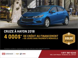 Obtenez la Chevrolet Cruze à hayon 2018