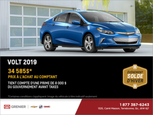 Obtenez la Chevrolet Volt 2019