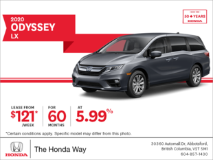 Lease the 2020 Honda Odyssey Today!