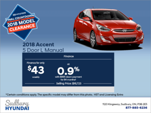 Finance the 2018 Accent 5 Door!