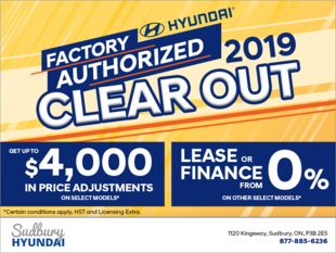 The Hyundai Factory Authorized 2019 Clear Out!