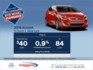 Finance the 2018 Accent 5 Door!