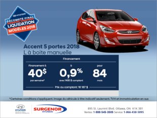 Financez la Accent 5 portes 2018!